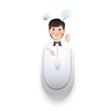 Businessman with computer mouse on white background. Vector design.