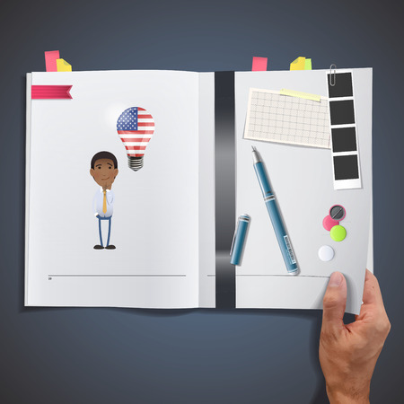 businessman with USA bulb printed on book