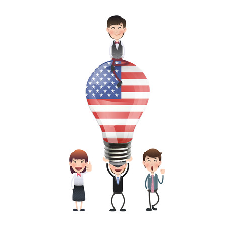 Business people with USA bulb over white background
