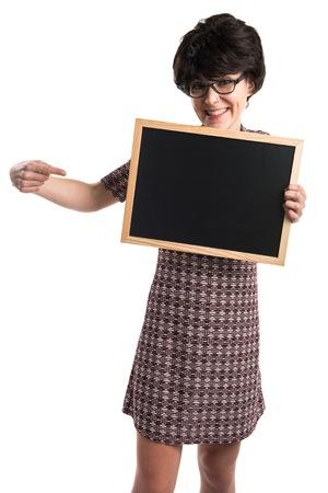 Brunette girl holding an empty placard
