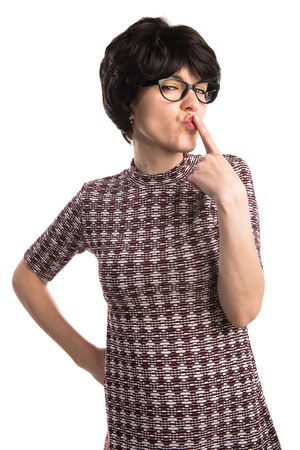 Girl with pop look making horn gesture