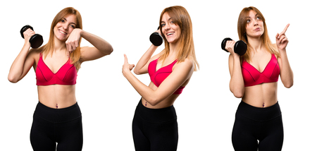 Set of Beautiful sport woman with dumbbells pointing back, up and down