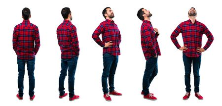 Photo pour Set of Handsome man standing and looking to the side, back and up - image libre de droit