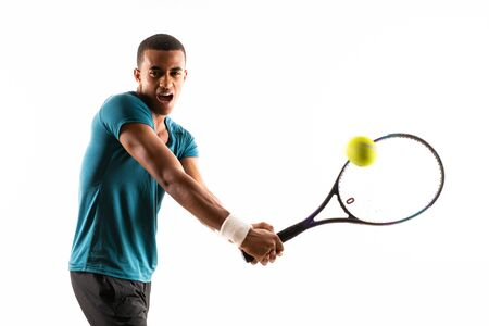 Photo pour Afro American tennis player man over isolated white background - image libre de droit