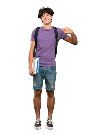 Photo for A full-length shot of a Young student man proud and self-satisfied over isolated white background - Royalty Free Image