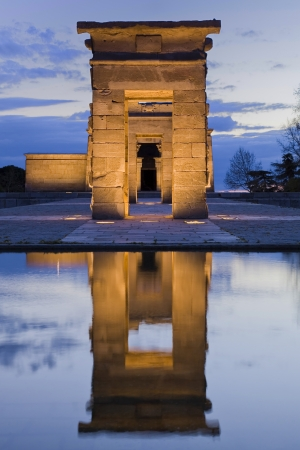 Reflection of the gate of an egyptian temple