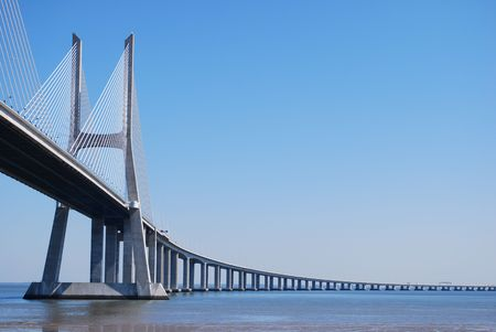 'Vasco da Gama' Bridge over River 'Tejo' in Lisbon