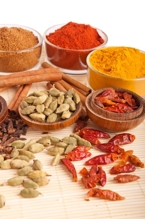 gorgeous setting with cooking spices and herbs (cloves, cardamom pods, cinnamon sticks, garam masala, paprika, piri piri, turmeric) on a wooden mat (isolated on white background)の素材 [FY3109728958]