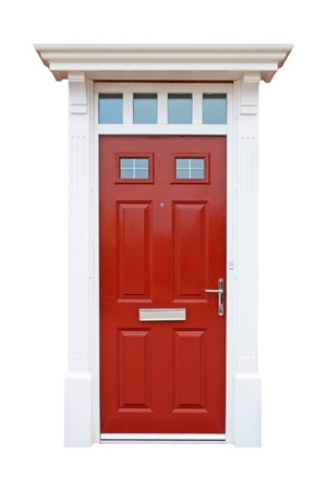 gorgeous red british house door  isolated on white background