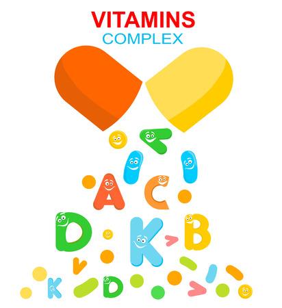 Illustration pour Vitamin complex of pill capsule and vitamins - image libre de droit