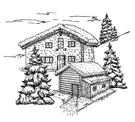 Illustration for House in the winter forest sketch. Christmas background, house in the snow landscape vector illustration - Royalty Free Image