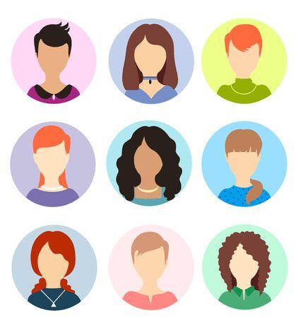 Illustration pour Women faceless avatars. Female human anonymous portraits, woman round vector profile avatar icons, website users head pictures. Women persons portraits collection - image libre de droit