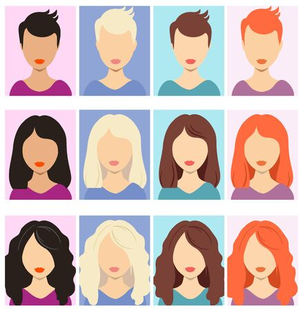 Illustration for Woman faceless avatars. Female human anonymous portraits, woman rectangular vector profile avatar icons, website users head pictures. Set of different girls hairstyle for short, medium, long hair - Royalty Free Image