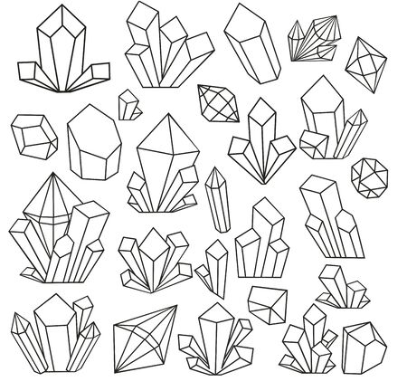 Illustration pour Graphic crystals drawn in line art style and isolated on white background. Set with geometrical polyhedron, art deco style for wedding invitation, luxury templates. vector illustration. Coloring book - image libre de droit