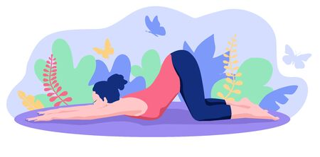 Yoga in nature. Young woman practicing Yoga Posing. Yoga class, studio. Yoga exercises and recreation. Healthy Lifestyle Concept
