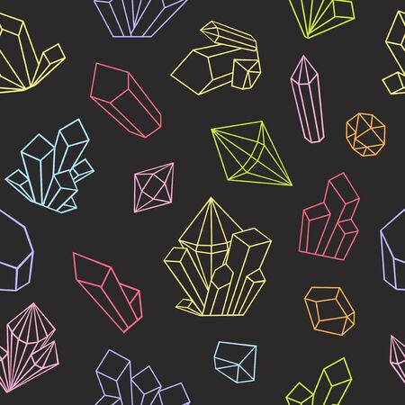 Illustration for Graphic crystals drawn in line art style. Vector seamless pattern. Coloring book page design for adults. Bright colors on a black background. - Royalty Free Image