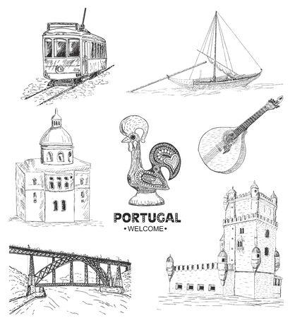 Illustration pour Portugal elements and symbols. Sketch. Rooster Barcelos, Portuguese tram, bridge in Porto. - image libre de droit