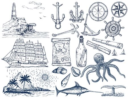 Illustration pour Nautical hand drawn vector set. Sailing sketch. Vector marine objects. Isolated on a white background. - image libre de droit