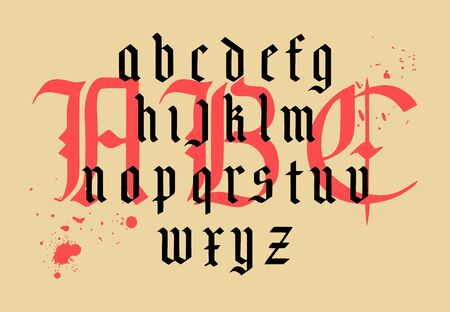 Illustration pour Vector modern gothic alphabet. Vintage font. Gothic Font Hand drawn vector. Typography for labels, headlines, posters etc. Composition of gothic letters. - image libre de droit