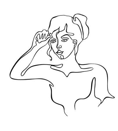 Illustration pour Continuous line drawing of beautiful woman on white background - image libre de droit