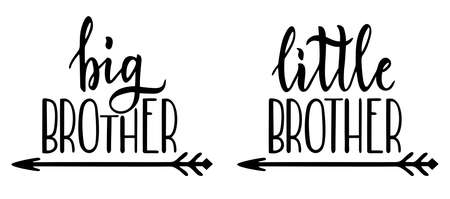 Illustration for Little brother, big brother. Lettering for babies clothes, t-shirts and nursery decorations. Lettering. Brush calligraphy isolated on white background. - Royalty Free Image