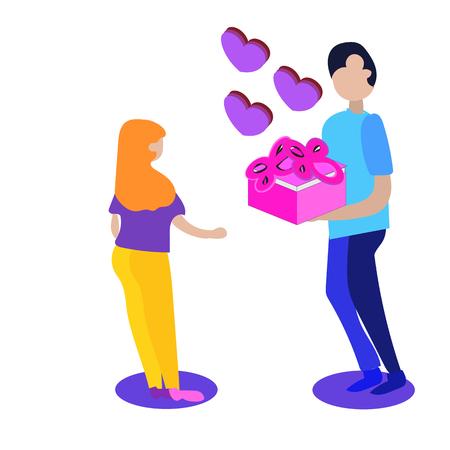 Ilustración de Man and woman in love. Valentine day,Couple vector illustration, isometric style - Imagen libre de derechos
