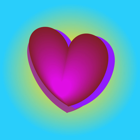 Illustration for Pink heart balloons in the blue sky, bright colors, Valentine day, birthday banner, anniversary. card - Royalty Free Image