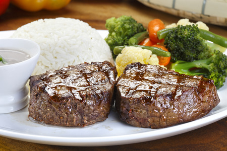 Filet Mignon with Rice and Salad