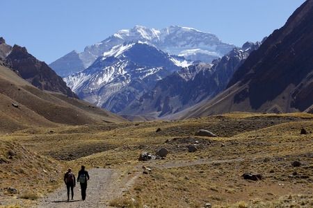 Aconcagua, the highest mountain in the Americas at 6,960 mts., Located in the Andes mountain range in Mendoza, Argentina.