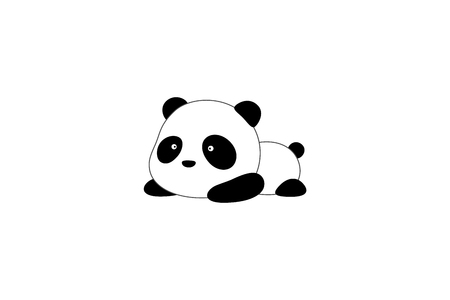 Ilustración de Cute funny cartoon giant panda bear lies on its stomach on the ground - Imagen libre de derechos
