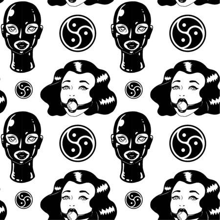 Ilustración de Black and white BDSM Vintage ink woman seamless pattern - Imagen libre de derechos