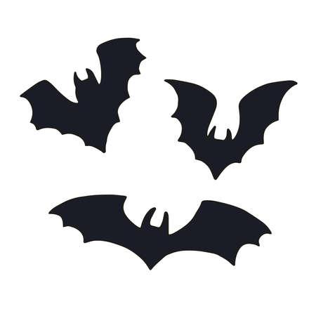 Illustration pour Vector set of halloweens silhouette bats. Spooky illustration - image libre de droit