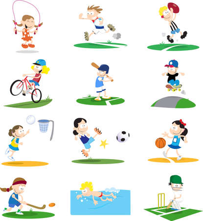 A collection of cartoon-style illustrations of kids playing a variety of sports.