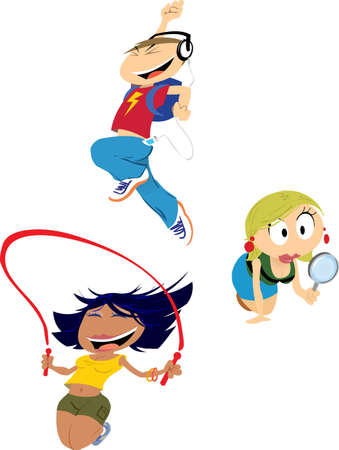 Three characters. A boy and two girls. Skipping, jumping for joy and searching.