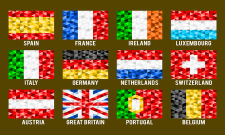 Western Europe low poly flags vector illustration