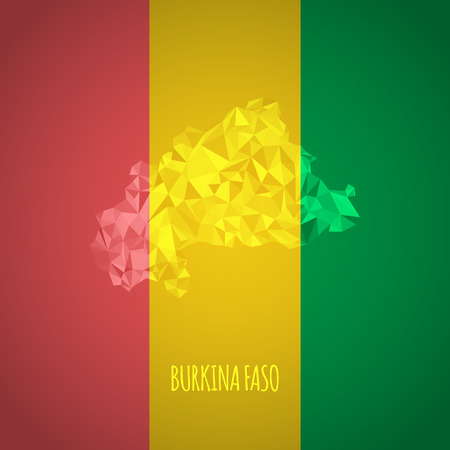 Low Poly Burkina Faso Map with National Colors - Infographic - Vector Illustrationの素材 [FY31033254272]