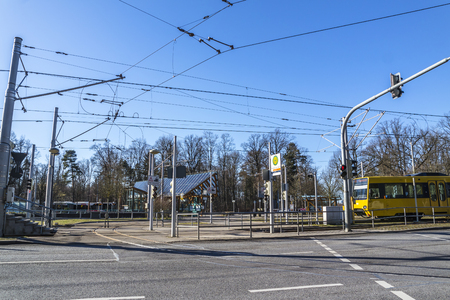 Stuttgart / Germany - February 12 2018 : The train station Ruhbank is the gate to television tower