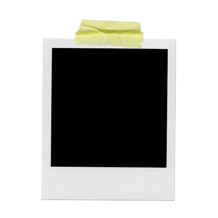 Photo for XXXL Ð blank polaroid photo. Isolated vintage frame with yellow tape - Royalty Free Image