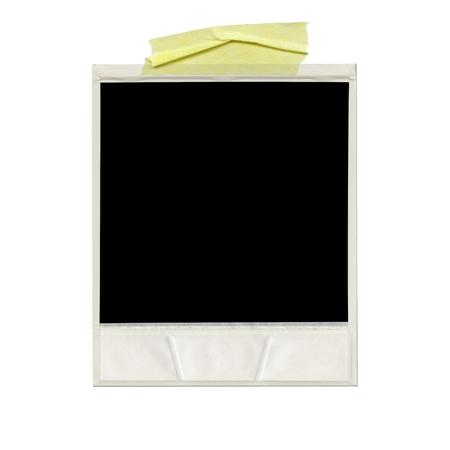 Foto de XXXL Ð blank polaroid photo. Isolated vintage frame with yellow tape - Imagen libre de derechos