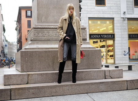MILAN - FEBRUARY 25, 2018: LINDA TOL posing for photograpers in SAN FEDELE square before MSGM fashion show, during Milan Fashion Week Woman fall / winter 2018/19 in Milan, Italy.