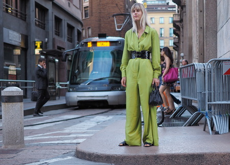 MILAN, ITALY -JUNE 15, 2018: Linda Tol posing for photographers in the street after ALBERTA FERRETTI fashion show, during Milan Fashion Week Men and women spring collections.