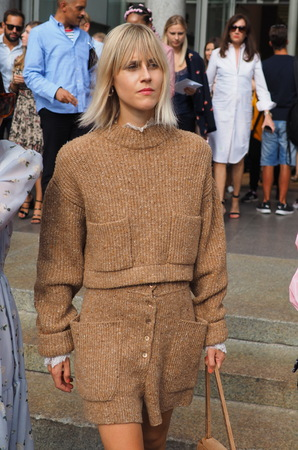 MILAN, Italy: September 22, 2018: Linda Tol in street style outfit after Philosophy by Lorenzo Serafini fashion show during Milan fashion week fall / winter 2018/2019.