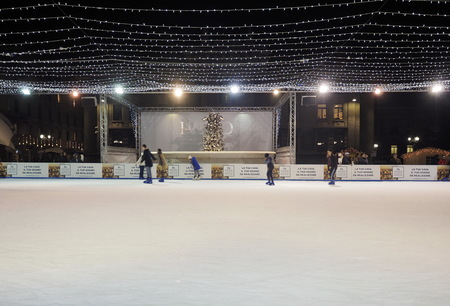 BERGAMO, ITALY - DECEMBER 4, 2018: Annual traditional Christmas fair on ice in the center of Bergamo city, Lombardy, Italy