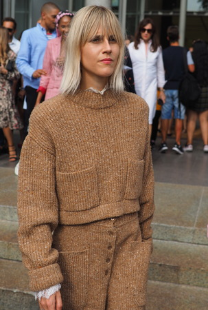 MILAN, Italy: September 22, 2018: linda Tol streetstyle outfit before Philosophy by Lorenzo Serafini fashion show during Milan fashion week fall / winter 2018/2019.