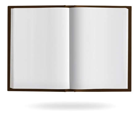 Open book with blank pages and clipping path on a white background