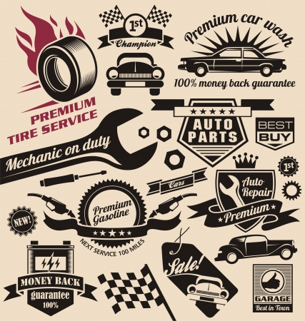 set of vintage car symbols and logos