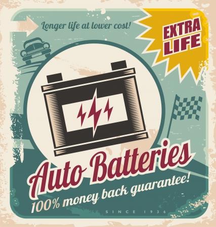 Retro auto batteries poster design. Vintage background for car service or car parts shop.