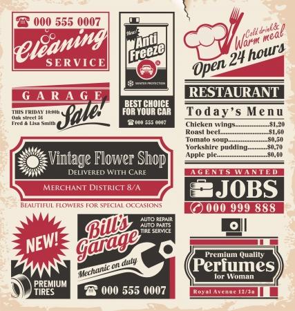 Foto de Retro newspaper ads design template collection of vintage advertisements  Old paper texture layout with promotional creative concepts for different business services, restaurants and shops  - Imagen libre de derechos