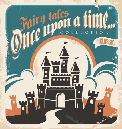 Vintage fairy tales vector poster design  Retro castle illustration