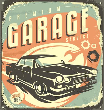 Foto de Car service - Promotional retro design concept - Imagen libre de derechos